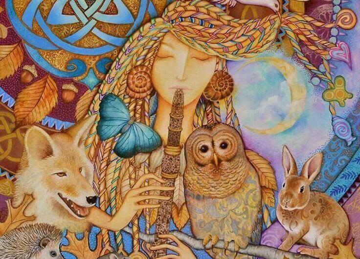 Mujer tocando la flauta con animales