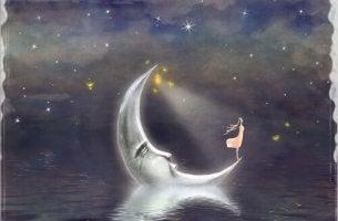 Niña de pie encima de la luna observando el infinito