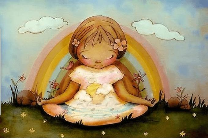 Niña feliz sentada rodeada por el arco iris