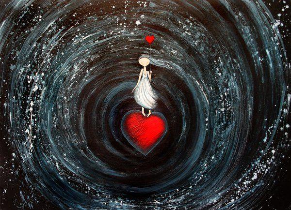 Niña sobre corazón amándose a sí misma