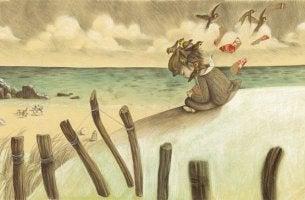 Niña triste en la playa