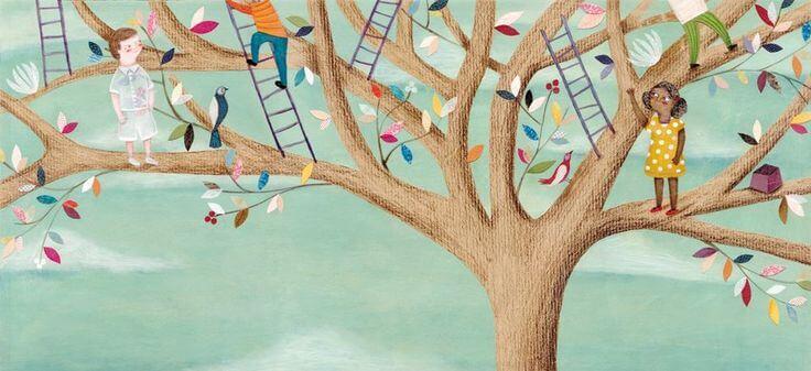 Niños subidos a un árbol escalando