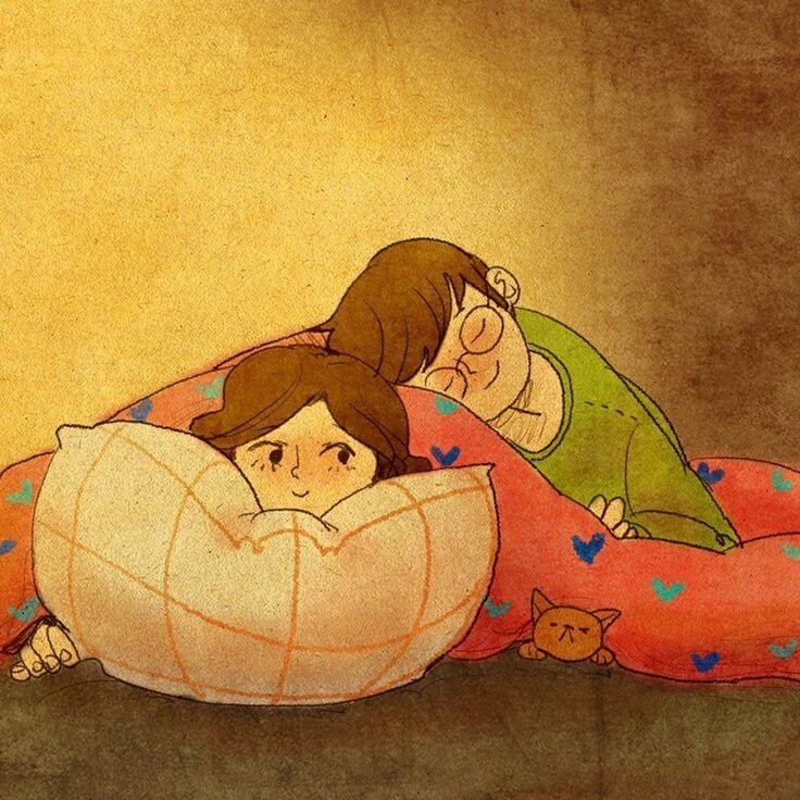 Pareja durmiendo juntos