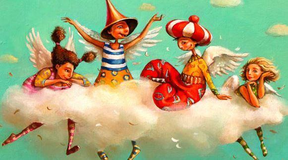 Amigos jugando en una nube