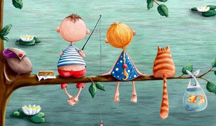 amigos pescando