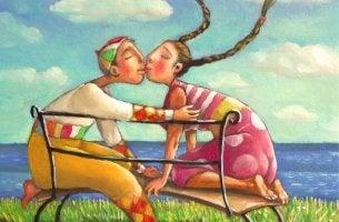 Pareja besándose representando compañeros de vida