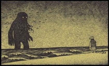 Hombre enfrente de un monstruo afrontando sus miedos