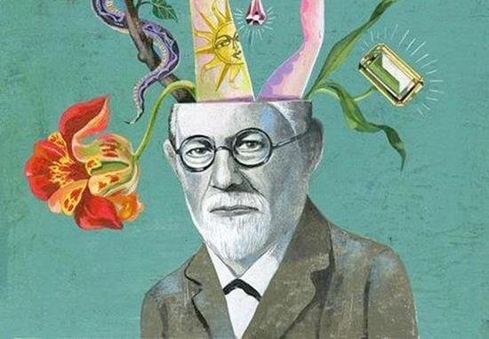 Freud con la cabeza de llena de pensamientos
