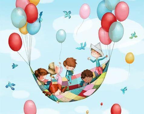 ilustracion niños en globo