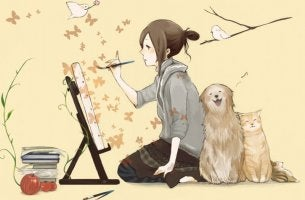 Muchacha con su mascota