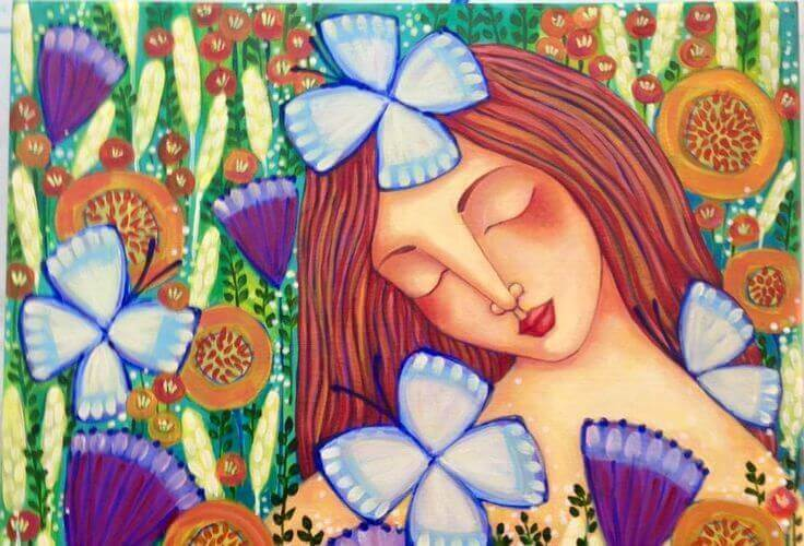 Mujer rodeada de mariposas