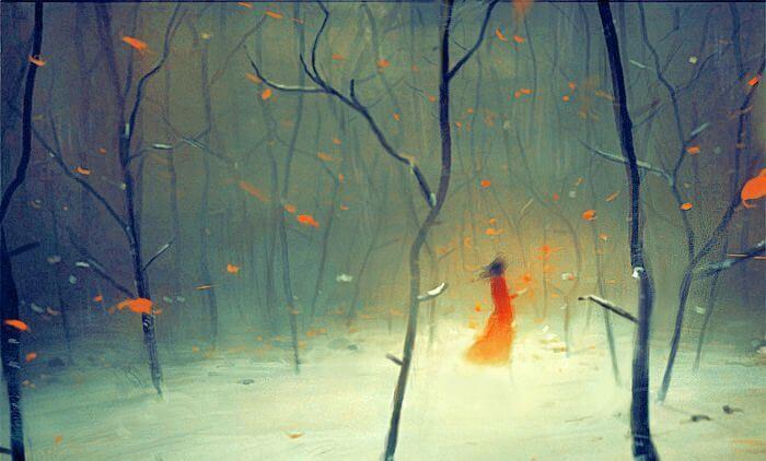 pequeña en bosque