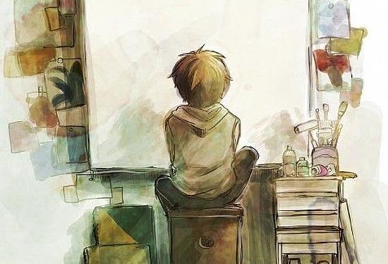 niño ante un lienzo