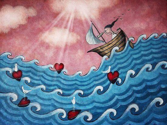Niña en barco sobre el oleaje