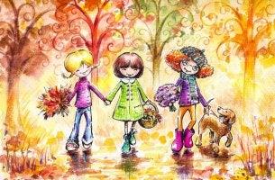 Niñas paseando representando la amistad