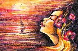 Mujer rubia sola feliz