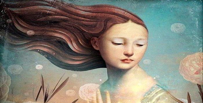 rostro mujer con flores y viento