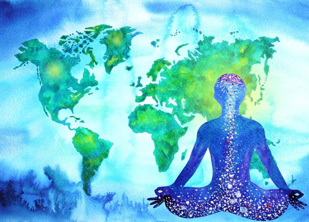 persona frente al mundo meditando