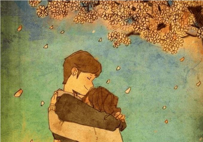 Pareja abrazándose debajo de un árbol