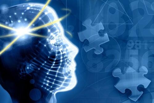 Cabeza de persona con el cerebro iluminado