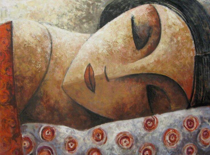 Cara de mujer con los ojos cerrados