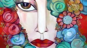 Cara de mujer con flores