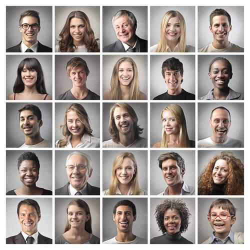 Caras de personas diferentes