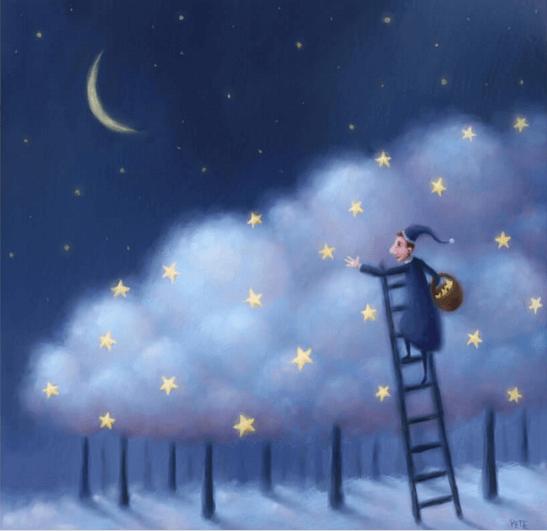Hombre cogiendo estrellas desde una escalera