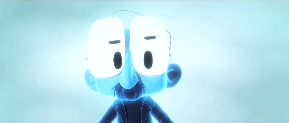 Hombre de color azul