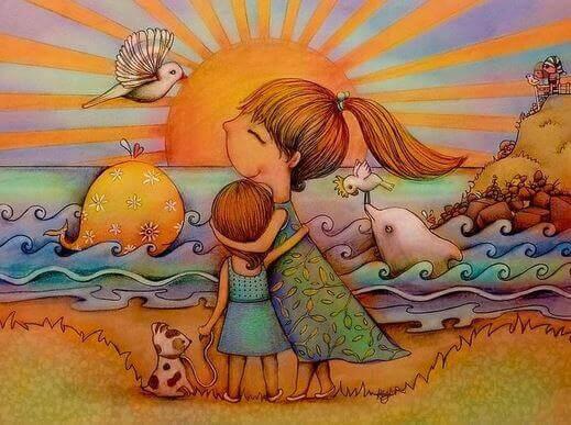 Madre abrazando a su hija en la playa