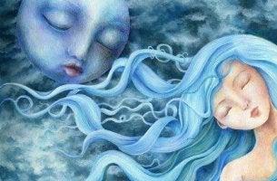 Mujer con los ojos cerrados y luna