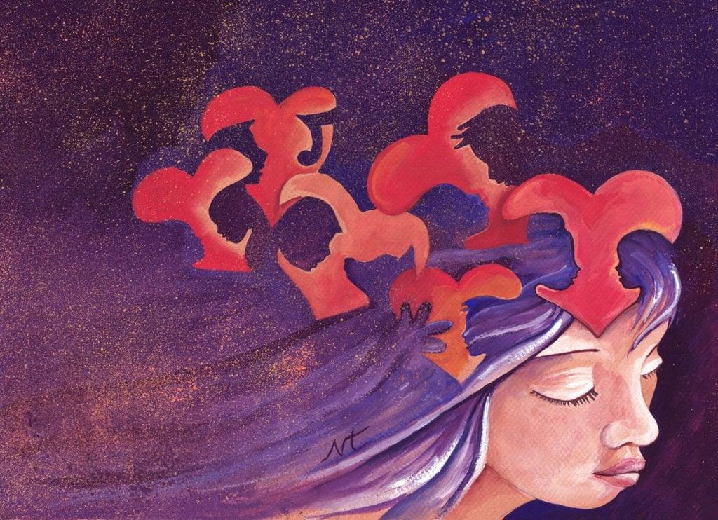 Mujer con muchos corazones en la cabeza