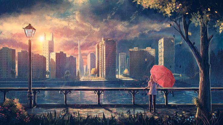 Mujer con paraguas rojo en el parque