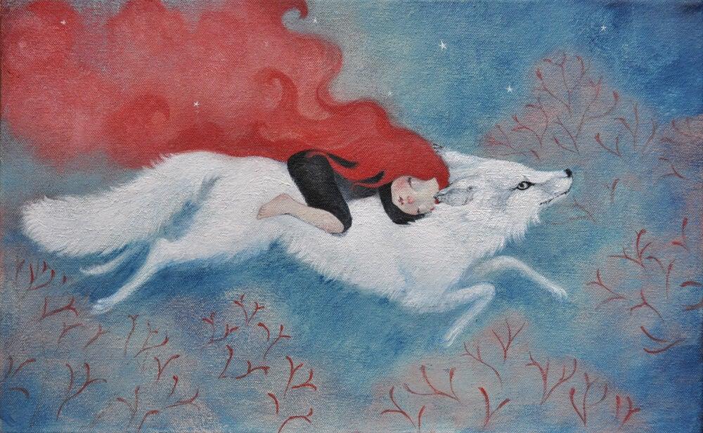 Mujer con un lobo