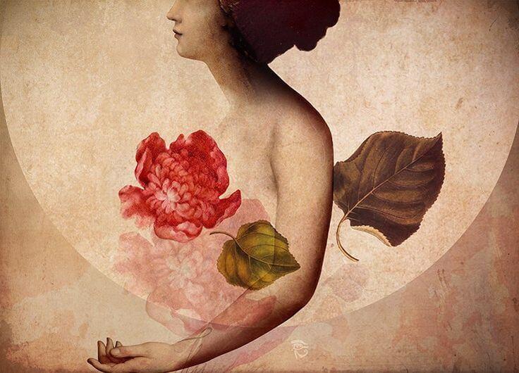 Mujer con una flor en el corazón