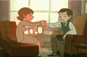 Mujer dando la mano al psicólog