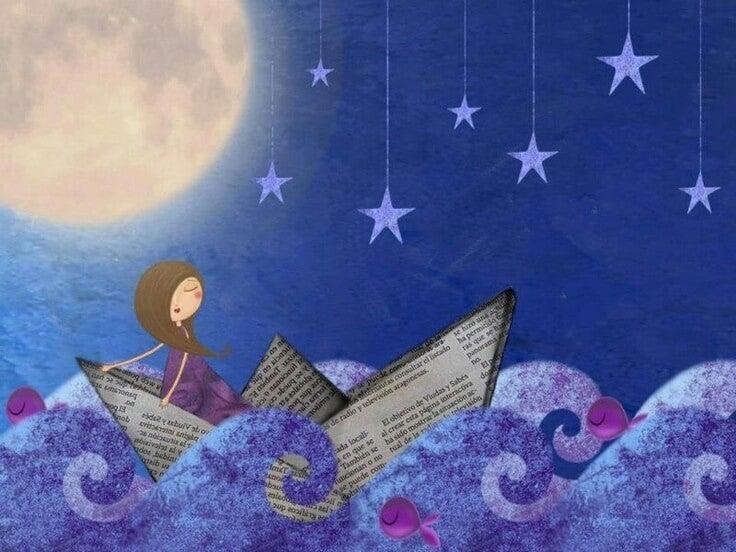Mujer en un barco de papel por la noche