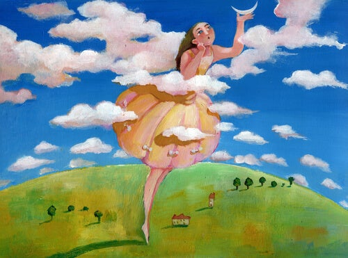 Mujer entre nubes