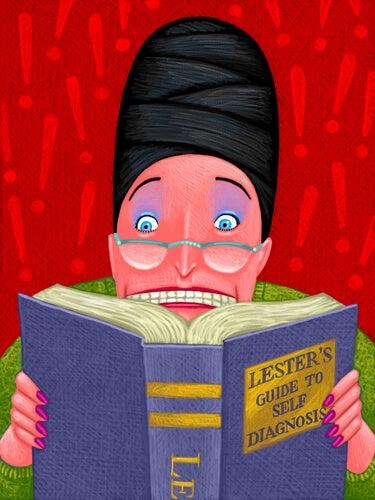 Mujer hipocondriaca leyendo un libro de enfermedades