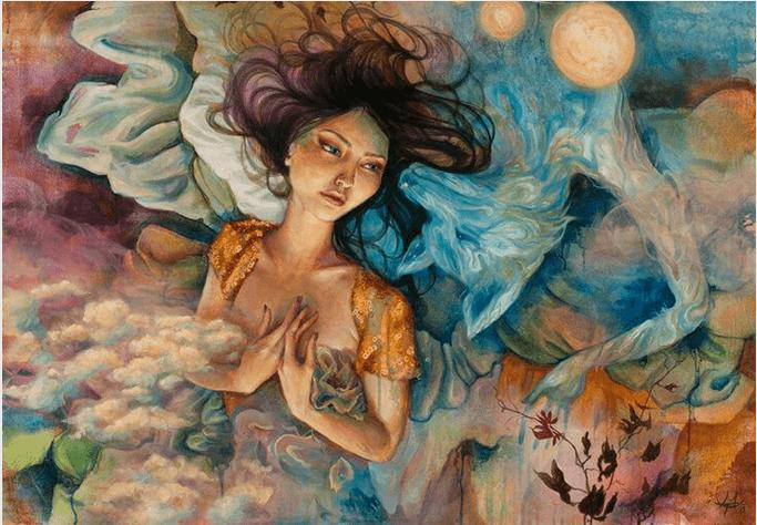 Mujer preocupada entre nubes