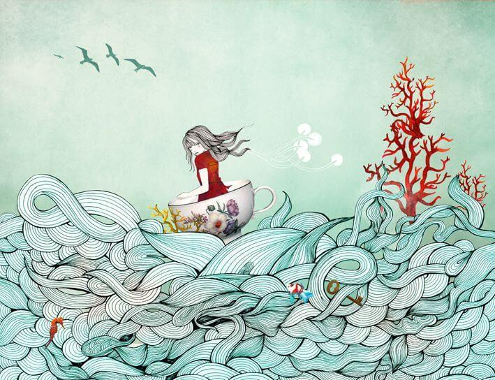 Niña en el mar navegando por las olas