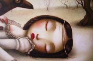 Niña en el suelo triste con los ojos cerrados