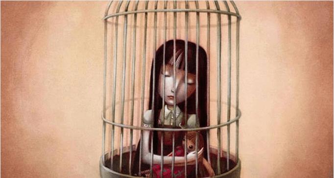 Niña en jaula