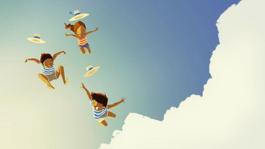 Niños saltando entre las nubes