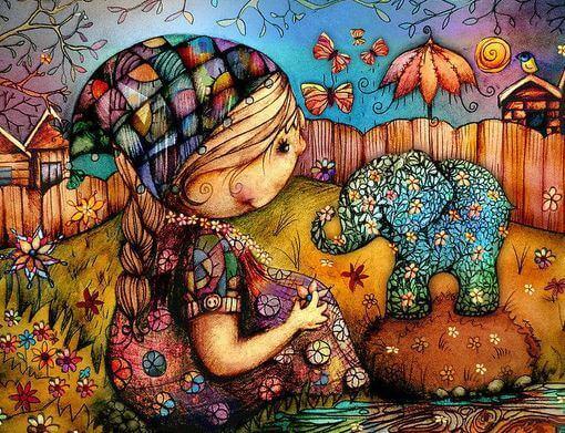 Niña con una flor en la mano y un elefante