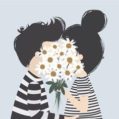 Pareja besándose detrás de un ramo de flores