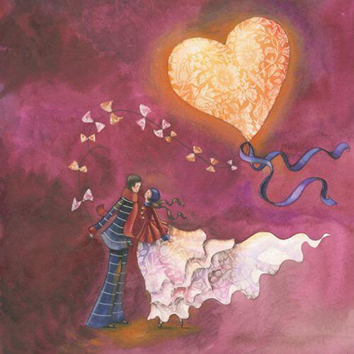 Pareja enamorada con un corazón