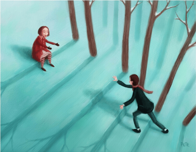 Pareja esperándose en el bosque