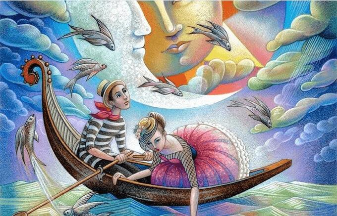 Pareja navegando en una barca