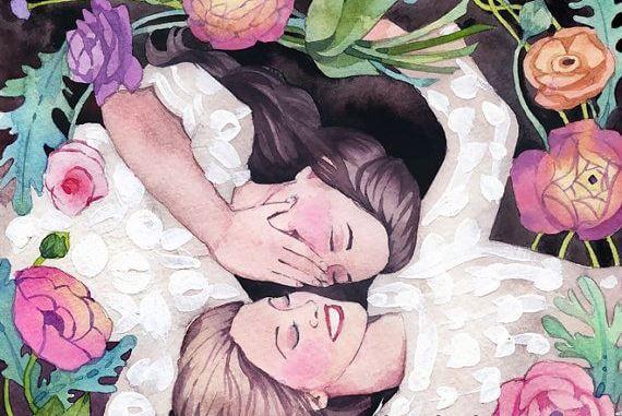 amigas rodeadas de flores